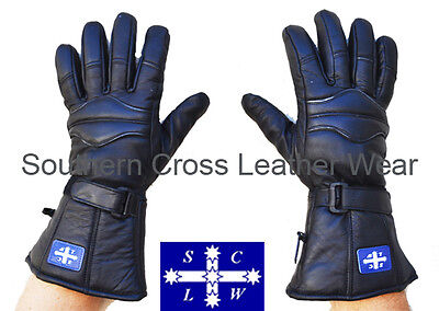 Full Leather Motorcycle Cruiser Gauntlet Gloves (Ideal Winter Gloves)