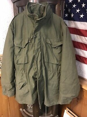 VINTAGE US Army 1985 M65 M-65 FIELD JACKET W LINER Large Long Excellent