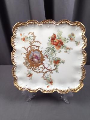 Antq Limoges Courting Couples Rococco Edge Presentation Cabinet Tray Watteau