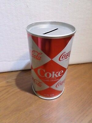 Rare Diamond Coca Cola Coke Straight Steel Soda Pop Can Coin Bank Excellent Old
