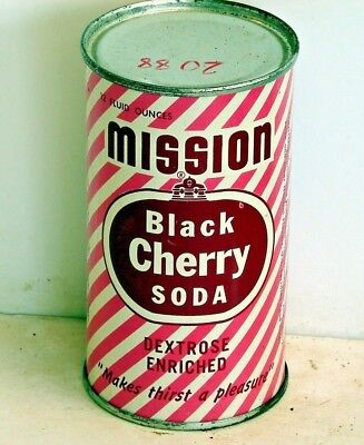 Mission Black Cherry Soda; steel solid top / flat top soda pop can