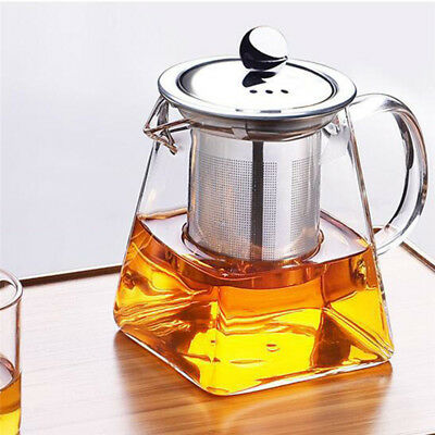 350/550/750ml Heat Resistant Glass Teapot Tea Pot w/Leaf Strainer Filter Infuser