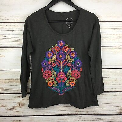 ac1b11fdbad Lucky Brand Top Size M Long Sleeve Floral Cotton Tee Top Gray Floral  Embroidered