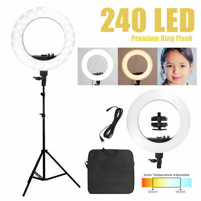 "50W 240PCS LED 18"" Ring Light 5500K Dimmable+Universal Adapter w/US Plug"
