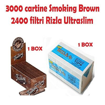 3000 CARTINE SMOKING BROWN CORTE MARRONI + 2400 FILTRI RIZLA ULTRA SLIM 5.5 mm