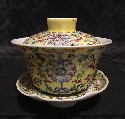 Antique Chinese Yellow Enamel Famille Jaune Covered Tea Cup Saucer JIAQING MARK