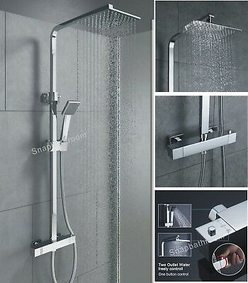 Thermostatic Shower Mixer Square Chrome Bathroom Exposed Twin Head Valve Set 02