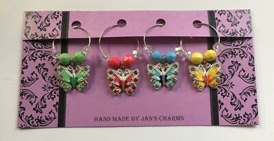 Wine Glass Charms - 4 Silvertone Enamel butterfly Wine Charms with cute Beads