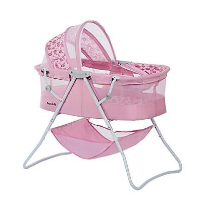 Dream On Me Karley Bassinet for New Borns,Pink with double canopy & sleeping Pad