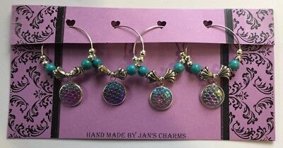 Wine Glass Charms - 4 Silvertone Dragon Scale Pink/Purple Charms with Beading