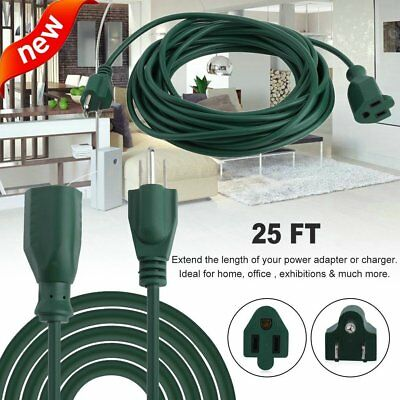 2 PACK 25ft Feet Power Extension Cord Cable 16 AWG 1625W Outdoor Heavy Duty 50ft