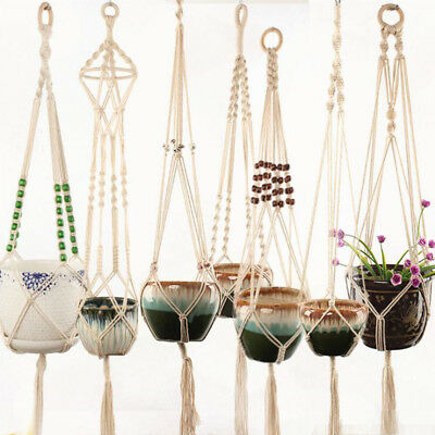 Pot Holder Macrame Plant Hanger Hanging Planter Basket Jute Rope Braided 39''
