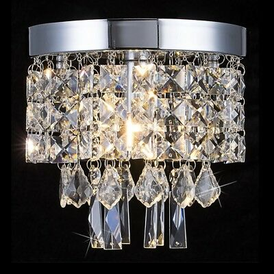 Small Crystal Chandelier Light Fixture Ceiling Round Mini Metal Flush Mount New