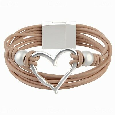 Heart Leather Rope Bracelet Women's Wrap Cuff Bangle Handmade Jewelry for Girl