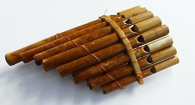 Vintage Handmade Pan Flute 8 Pipes Bamboo 20 cm x 11 cm