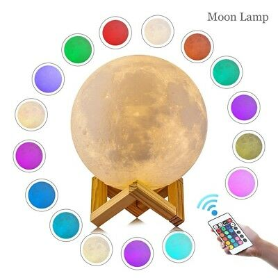 3D LED 16 Color Moon Night Light Lamp Charging Touch Control Home Decor Gift