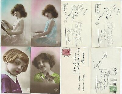 4 cartes postales fillette 1921