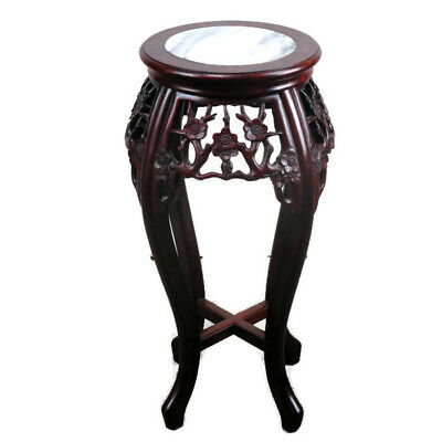 Tall Carved  Red Wood Chinese Marble Top Hall Console Table Pedestal Tabouret