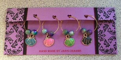 Wine Glass Charms - 4 Gold Plated Enamel Shell Charms with cute Beads
