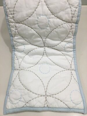 Beautiful Living Textiles Cot Bumper Baby Blue White Reversible - Like New