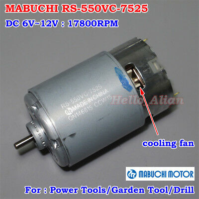 MABUCHI RS-550VC-7525 Power Motor DC 6V~12V 17800RPM High Speed With Cooling Fan