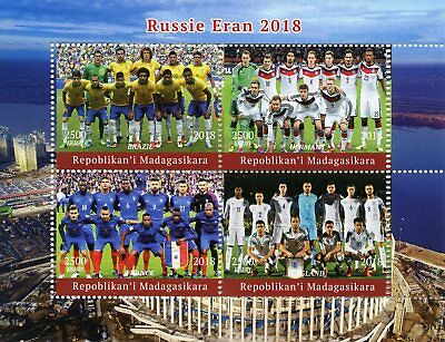 Madagascar 2018 MNH World Cup Football Russia Germany England 4v M/S Stamps