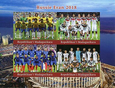 Madagascar 2018 MNH World Cup Football Russia Germany England 4v Impf M/S Stamps