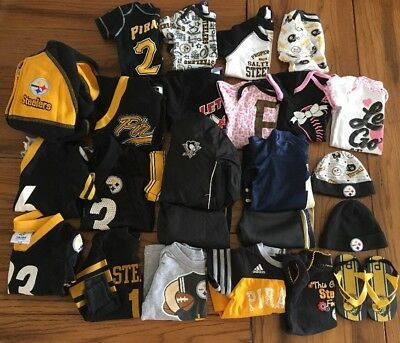 Huge Lot Baby Girl Boy Clothes Pittsburgh Steelers Pirates Penguins Panthers