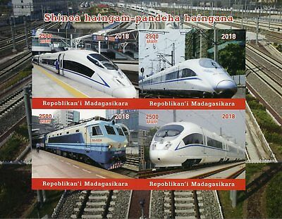 Madagascar 2018 MNH Chinese High-Speed Trains 4v Impf M/S Railways Rail Stamps