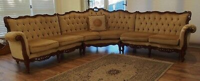 Vintage French Louis Style Velvet 6 Seater Corner Chesterfield Lounge/sofa