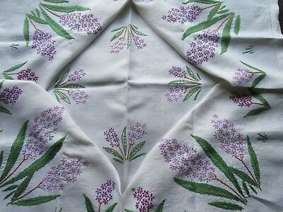Vintage Hand Embroidered Table Cloth-PRETTY HYACINTH FLOWERS & FOLIAGE