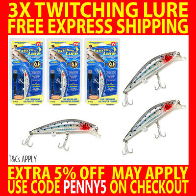 3X Genuine Twitching Fishing Lure Rechargeable Saltwater Fish Bait + Usb Charger
