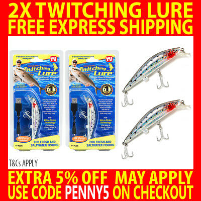 2X Genuine Twitching Fishing Lure Rechargeable Saltwater Fish Bait + Usb Charger