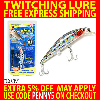 Genuine Twitching Fishing Lure Rechargeable Saltwater Fish Bait + Usb Charger