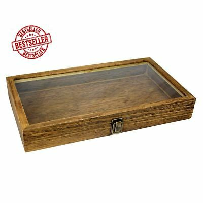 Natural Wood  Tempered Glass Top Lid Metal Clip Jewelry Display Case Holder New