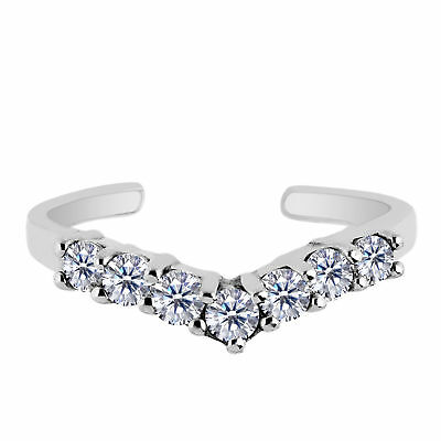 Toe Rings 925 Sterling Silver Rhodium Plated Clover Style Cz Adjustable Toe Ring Fashion Jewelry