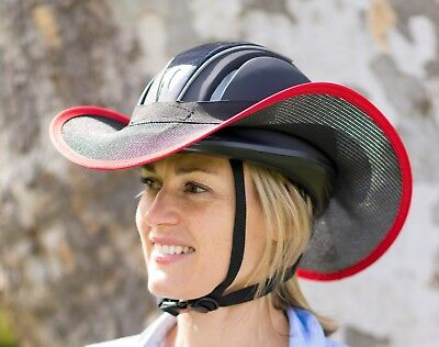 "Horse Riding Helmet Brim Visor Shade  ""new "" One Size Fits Black With Red"
