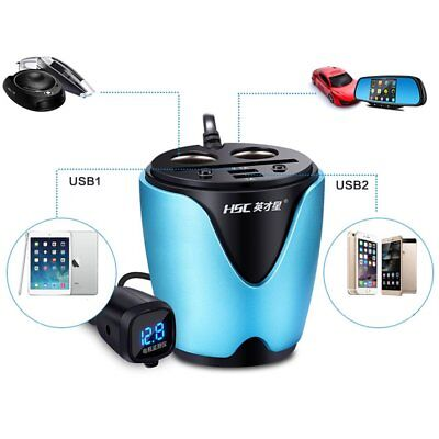 Car auto Cigarette Lighter Dual USB Charger Socket Cup Holder Adapter 3.1A UK
