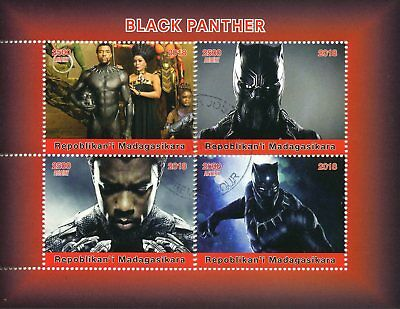 Madagascar 2018 CTO Black Panther 4v M/S Superheroes Movies Film Stamps