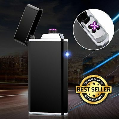 Flameless Windproof Electric Dual Arc Lighter Rechargeable USB Cigarette Plasma