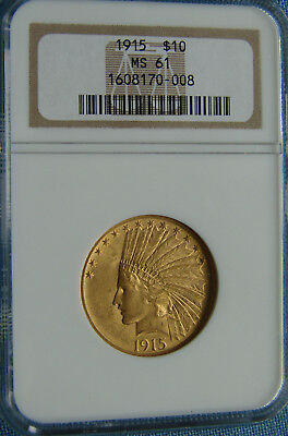 *beautiful Looking 1915 $10.00 Gold Eagle Indian Head - Ms-61 Ngc*