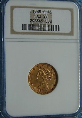 *super Looking 1888-S $5.00 Gold Half Eagle Classic Head - Au-55 Ngc*