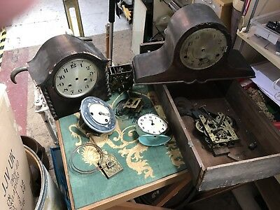 Job Lot Of Old Clock Cases And Parts