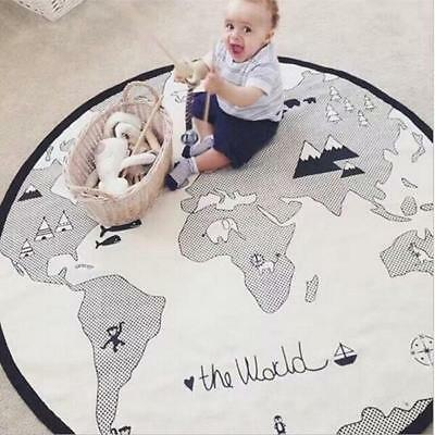 World Map Sleep Round Baby Kid Play Mat Floor Rug Crawl Soft Blanket Carpet UK