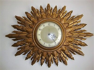 Vintage Large Smiths Sectric Sunburst/Starburst Wall Clock