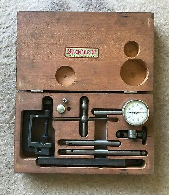Vintage Starrett No. 196 Dial Indicator Gauge Set Wooden Box w/ Accessories
