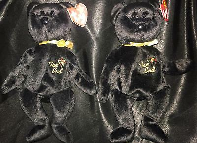 "(2) ""The End"" Ty Beanie Baby Bear Authentic Retired Mint 1999, NEW, Very Rare"