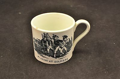 Antique Pearlware Bat Printed Child's Mug,  'Playing at Soldiers'   ND3249