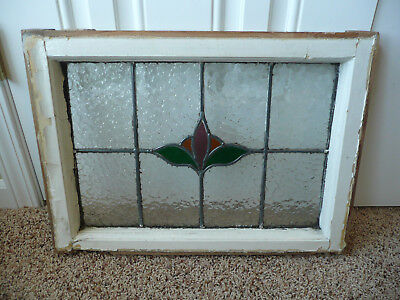 Vintage Leaded Stained Glass Window Floral Frame Wall Art Shabby Chic