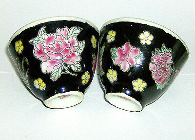 TWO  HAND painted Chinese  sip CUPS ( FLORAL on BLACK BACKGROUND pattern )